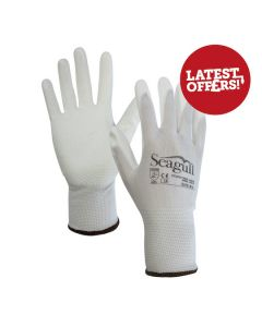 Seagull Gloves Polyester PU Palm Coated White Size 9