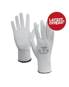 Seagull Gloves Polyester PU Palm Coated White Size 10