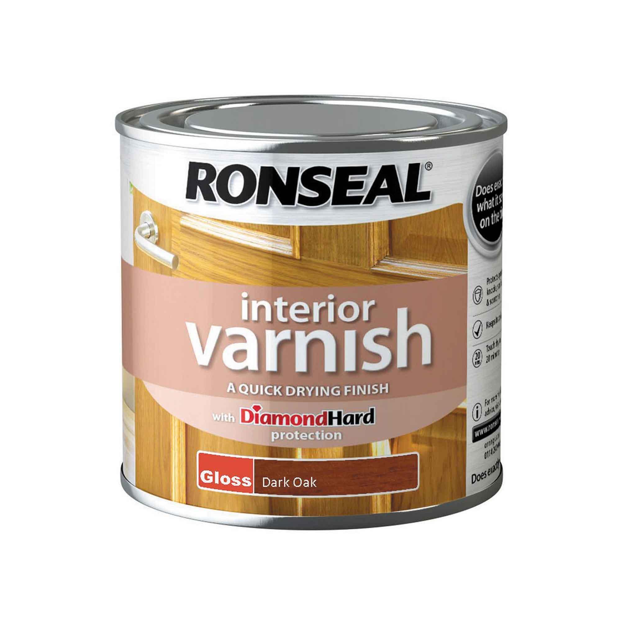 Ronseal Diamond Hard Interior Varnish Gloss Dark Oak 250ml