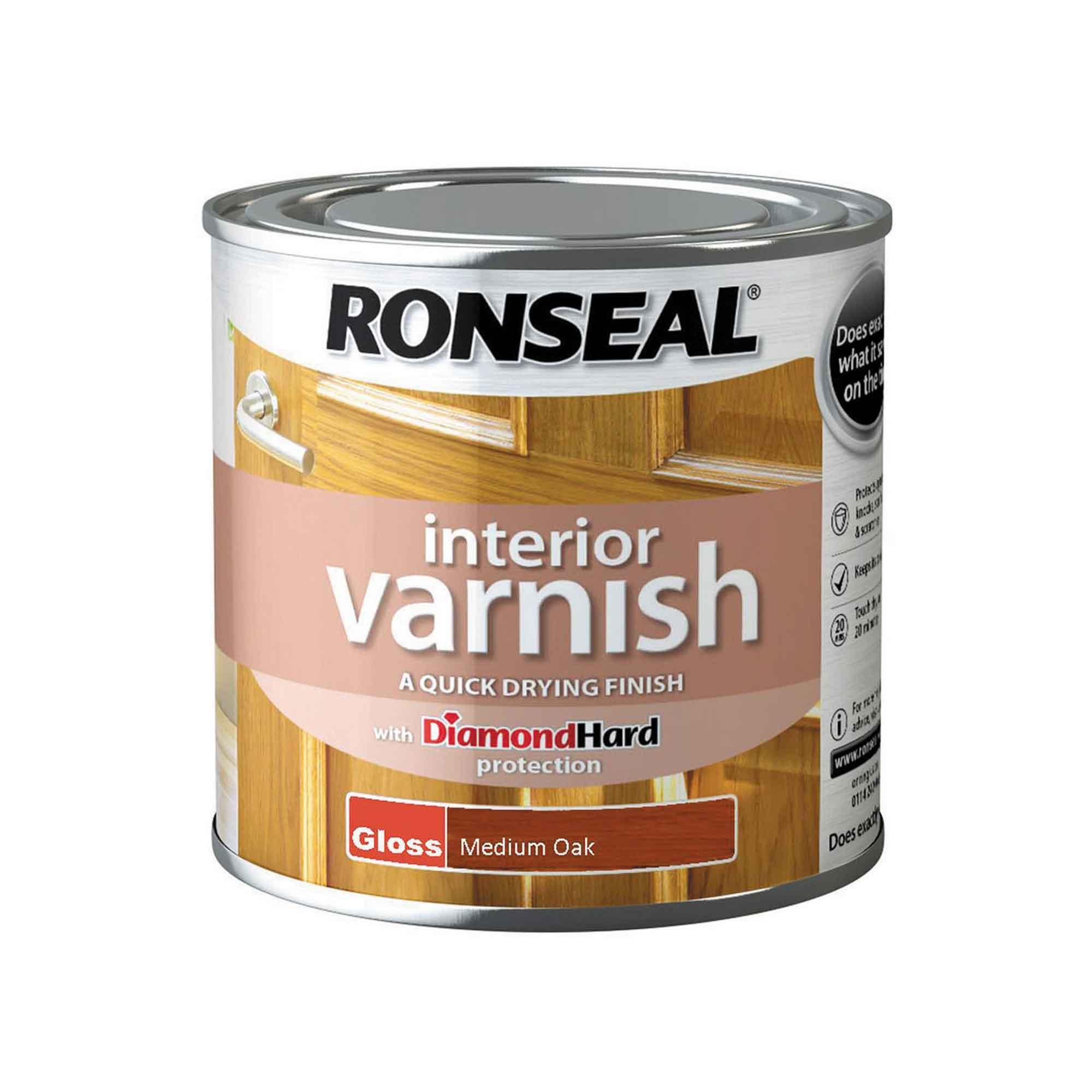 Ronseal Diamond Hard Interior Varnish Gloss Medium Oak 250ml