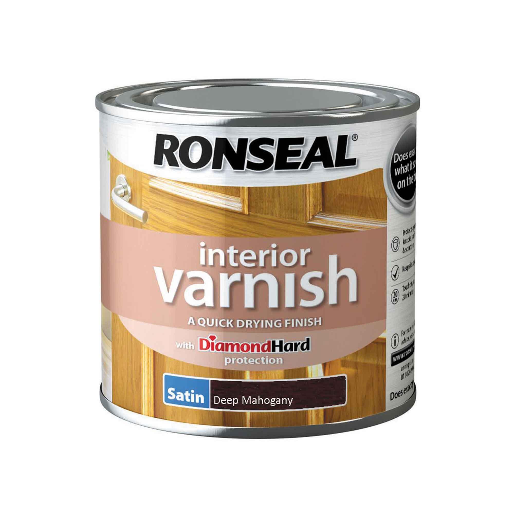 Ronseal Diamond Hard Interior Varnish Satin Deep Mahogany 250ml